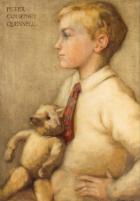 Portrait of Sir Peter Courtney Quennell with is Teddy bear by Marjorie Quennell