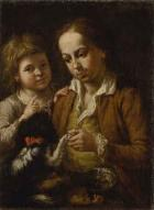 Two girls feeding cat. Two boys with dog by Franz Ignaz Oeffele-Piekarski