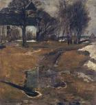 Untitled - landscape with chapel by Alfred Oesteritz
