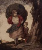 Mother and child on the road by Ludwig von Zumbusch