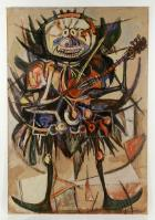 Abstract smiling figure with ukulele by Jean-Michel Basquiat