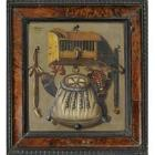 A Hunting Still Life of a Bird Cage, a Whistle, Horn and a Game Bag, all Hanging from Nails on a Wall by Johannes Offermans